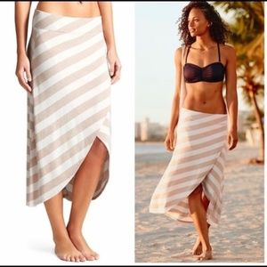 Athleta Ribbon Stripe Faux Wrap Midi Skirt NWT